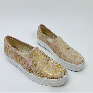 Keds rifle paper co pink gold floral slip on shoes